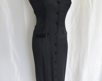 Vintage 80s womens maxi dress, black tuxedo dress, long fancy dressy formal sexy sleeveless button down, size 11 12 M L.