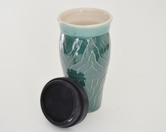 IN STOCK, Handmade Ceramic Coffee Travel Mug, Green Large Travel Mug with Raised Design, 24 oz Stoneware Mug, Commuter Mug