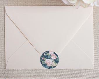 Envelope Seals - 1.5in Round Labels {Navy & Roses}