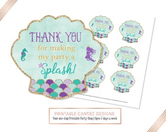 Mermaid favor tags, Under the Sea gift tags, Mermaid Party Decor, thank you tags, Instant Download