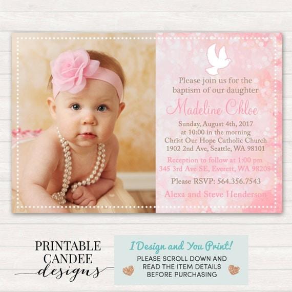 Pink Baptism Invitation Dove Christening Invitation Pink