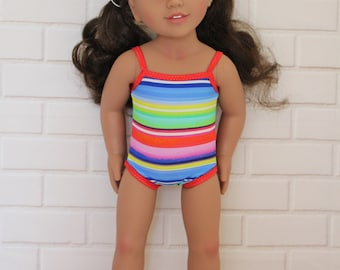 Red Trim Bathers Swimmers, Togs, Swimwear Doll Clothes to fit 18 inch dolls to 20 inch dolls such as American Girl & Australian Girl dolls