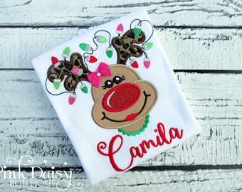 Reindeer Shirt for Girls - Christmas Shirt - Reindeer with Lights - Applique Shirt - Monogrammed - Rudolph - First Christmas - Leopard Print