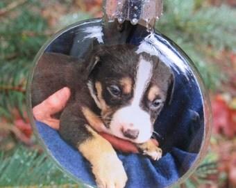 Custom Photo Ornaments - Personalized Photo Ornaments - Keepsake Ornaments - First Christmas Ornaments - 2 & 5/8 Inch Glass Disc Ornaments