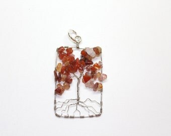 Tree of life pendant in orange, with Carnelian chip beads and silver toned wire and optional long chain