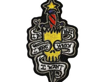 "The Simpsons Bart ""I Do What I Want When I Want"" Patch Embroidered Iron On"