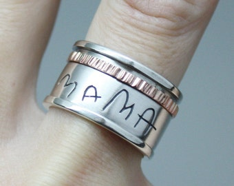 SPINNER RING. Customized Spin Ring, Sterling Silver Ring with Actual Handwriting. Words, Names, Engraved ring, Worry ring