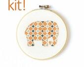 Modern Cross Stitch Kit, DIY Kit, Embroidery Kit, Little elephant in orange and blue, Easy Cross Stitch, Beginner Pattern, Nursery Decor