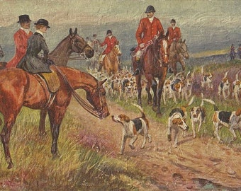 After the Hunt - Vintage 1930s Artist-signed Fox Hunt Riders and Horses Postcard