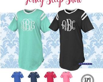 Monogrammed Jersey Sleep Shirt, Monogram Jersey Tee, Monogram Jersey Sleep Shirt, Monogram Jersey, Football Jersey, Extra Length Jersey Tee