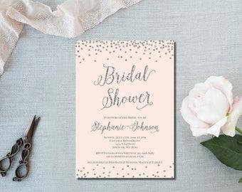 Blush Silver Bridal Shower Invitation silver glitter bridal Brooke BR84 Digital or Printed
