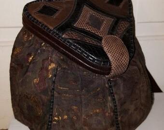 SHARIF LEATHER SNAKESKIN Purse // 80's Suede Dark Brown Copper Bronze Reptile Structured Purse Patchwork Geometric Mirror
