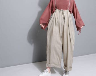 Women Jumpsuits Sexy Jumpsuit Wide Leg Pants Linen Pants Long Pants #J1786