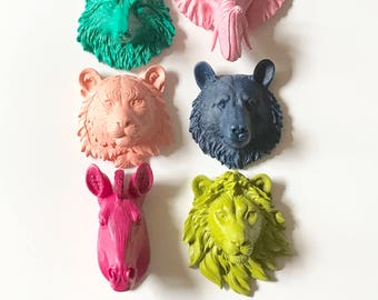 Set of 6 ANY COLOR Small Faux Taxidermy Animal Head wall mounts mini faux animal wall hangings party favors nursery wall decor office decor