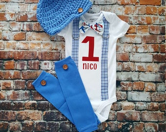 Baby Boy Nautical First Birthday Outfit - Bow Tie and Suspender Bodysuit w Newsboy Hat and button leg warmers.  1st Birthday, Cakesmash