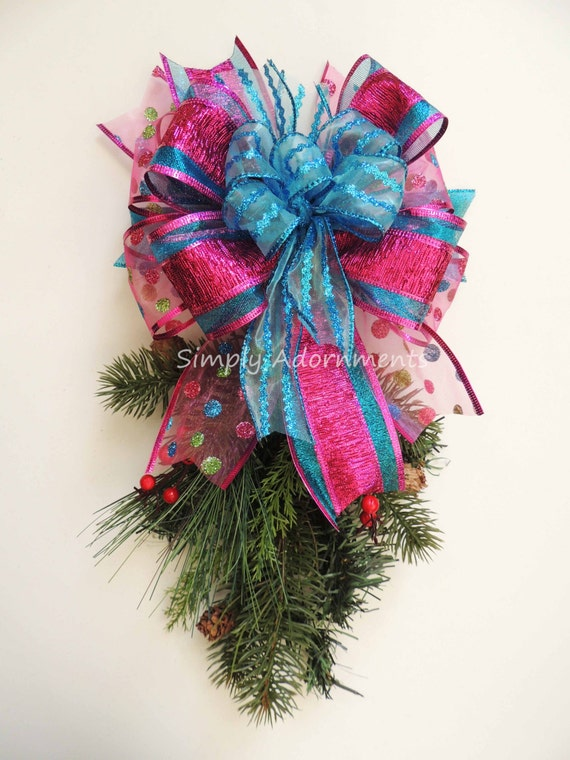 Whimsical Pink Turquoise Christmas Bow Funky Fuchsia Turquoise Christmas Tree Topper Bow Christmas Lantern Bow Christmas Wreath Bow Gift Bow