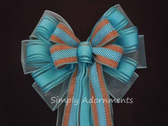 Aqua Turquoise Burlap Wreath Bow Aqua Turquoise Wedding Pew Bow Turquoise Church Aisle Pew Bow Blue dots Baby Shower Party Decor