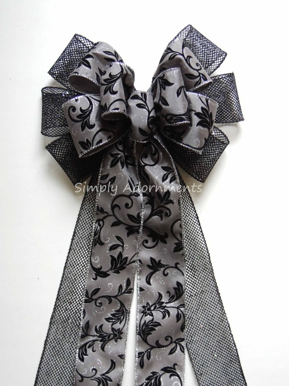 Black Silver Bow Silver Gray Black Filigree Wreath Bow Gray Black Wedding Pew Bow Silver Grey Black Wedding Chair Bow Gray black Party Decor