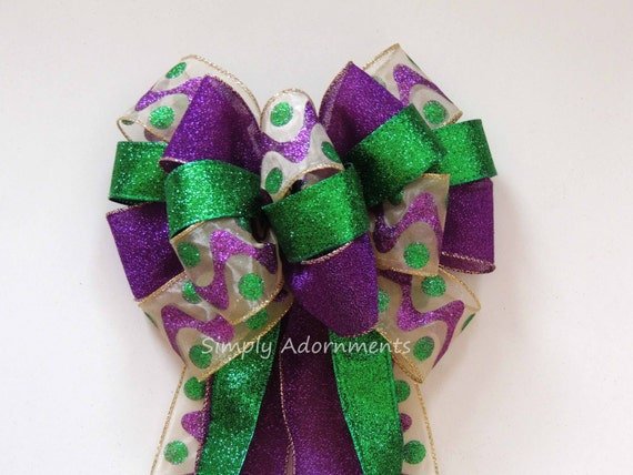 Mardi Gras Wreath Bow Fat Tuesday Wreath bow Mardi Gras Christmas Bow Purple Gold Green Bow Mardi Gras Christmas Tree Bow Large Gift Bow