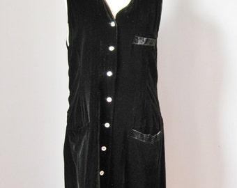 Velvet Jumper / Vtg 90s / Black Silk and Rayon Blend Velvet button down jumper dress / Long sleeveless tunic / Long Vest