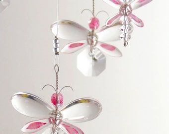 Baby Girl Mobile Nursery Idea Decor Pink Butterfly Mobile Swarovski Crystal Suncatcher Chandelier Hanging Mobile Crystal Garland Fairy Gift