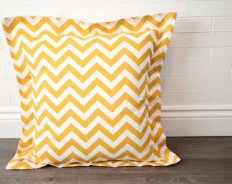 "26x26"" Mustard & White Chevron Euro Sham with 2"" Flange"
