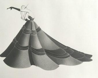 fashion illustration - original pencil drawing - fashion sketch - old hollywood - noir - glamour