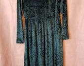 S Small Vintage 80s 90s Dark Green Long Sleeve Gothic  Hipster Alternative Indie Festival Grunge Midi Maxi Babydoll Dress