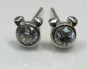 Dog Stud Earrings in Silver