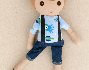Reserved for J C - Fabric Doll Rag Doll Boy Doll in Spaceship Onesie with Denim Shorts and Suspenders