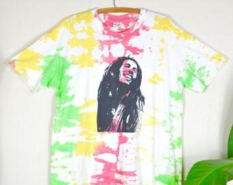 90s Bob Marley tie dye tee / vintage screen printed t-shirt