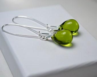 Dark Olive Earrings, Long Dangle Earrings, Olive Green Earrings, Glass Teardrop Earrings UK shop, Wife Gift Ideas, Popular Jewelry Presents