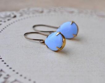 Pastel Blue Earrings, Teardrop Earrings, Cornflower Blue Jewelry, Pear Earrings, Vintage Glass Drop Earrings, Womens Gift Ideas, For Her