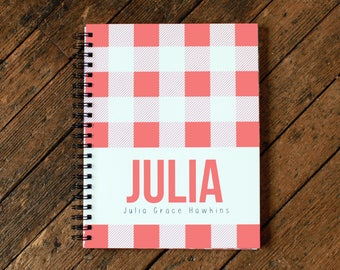 Baby Book - Personalized Baby Book - Modern Baby Book - Plaid - Coral