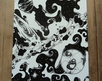 Space 5 x 8 giclee art print, A5 print, space print, space art, wall art, black and white illustration, black and white print, planets