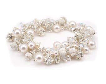 Bridal Bracelet • Pearl Cluster Bracelet • Swarovski Pearls & Crystals Sterling Silver Bracelet • Bridesmaids Gifts • Wedding Bracelet