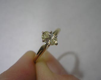 Vintage 14KP Two Tone Gold Faint Yellow Oval Diamond Engagement Ring Size 6 One of Two Payments