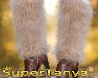 SuperTanya fuzzy beige mohair leg warmers / gaiters spats made to order