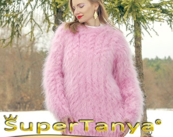 SUPERTANYA hand knitted fuzzy pink mohair sweater