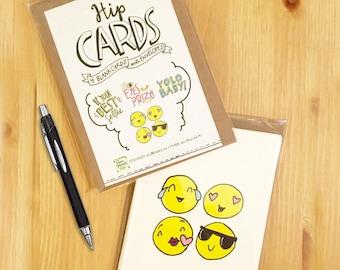 Hip Cards - Blank Cards with Envelopes - Emoji Card Set