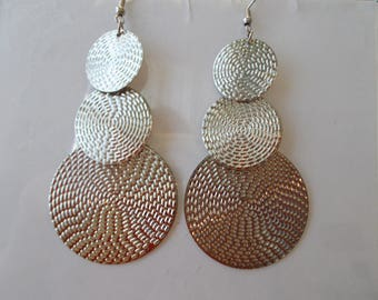 Layered Silver Tone Dangle Earrings