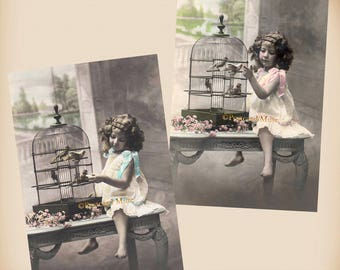 Girl With A Bird Cage - 2 New 4x6 Vintage Postcard Image Photo Prints - CE54-89