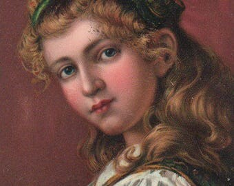 Young Country Girl Original Antique Art Postcard