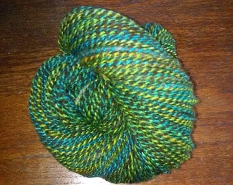 100% Wool, Hand Spun, 2-ply, Dark Brown, Blue, & Green Yarn - 207 yards - DK/worsted weight - 14 to 18 wpi