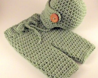 Light Green Newborn - 3 Month Crochet Pants Britches Newsboy Hat Cap Handmade Infant Baby Photo Photography Studio Prop