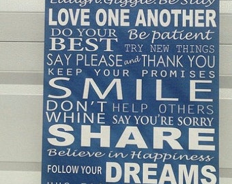 Family Rules, Personalized Canvas word art 20x30, Canvas Family Rules,