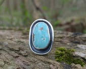 Morenci Turquoise and Sterling Silver Ring. Light Blue Turquoise with Pyrite. Shadowbox Detailing and Hammer Textured Band. Boho Style. US 9