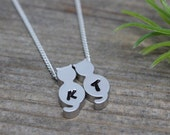 Two CATs necklace on sterling silver chain Custom With initials.  Silver CAT Jewelry, Cat Jewellery, Small Kitty.