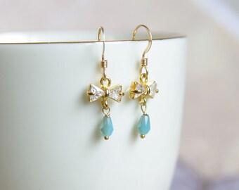 Crystal Bow Earrings - Butterfly Turquoise Dangle Earrings  - Petite Drop Earrings