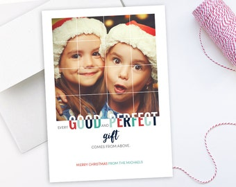 "Photo Christmas Card: Every Good & Perfect Gift // 5x7"" printable Religious Christmas Card"